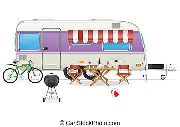trailer camp caravan illustration