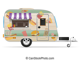 fast food trailer illustration isolated on white background