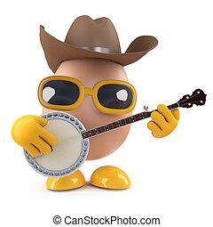 3D,  banjo, huevo, juego, vaquero