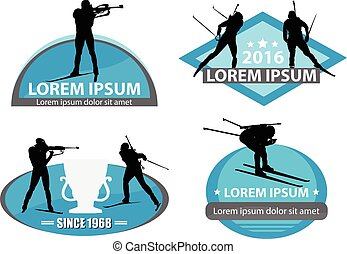 biathlon logo set - Isolated biathlon logo set on white...