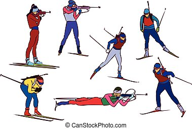 vector biathlon set - Biathlon silhouette set. Vector stock...