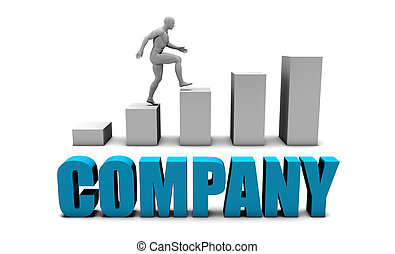 Company 3D Concept  in Blue with Bar Chart Graph