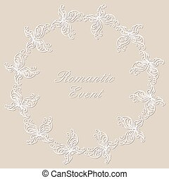 Round ornamental frame - Round lacy ornament with...