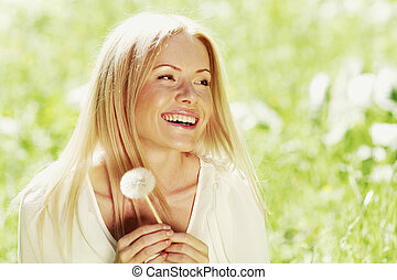 Girl with dandelion - Happy blond Girl with white dandelion...