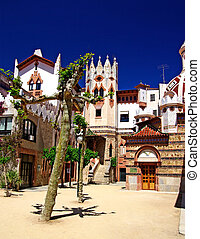 Church with beautiful architecture and garden. Lloret de Mar, Costa Brava, Spain.
