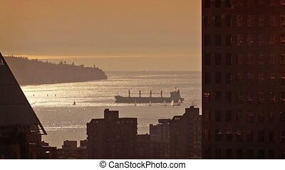 Sparkling City Bay With Ships - Coastal area outside the...