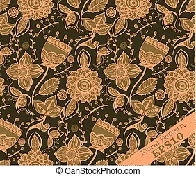 Repeating Floral Pattern. Brown and peach