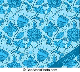 Repeating Floral Pattern. Light blue and blue