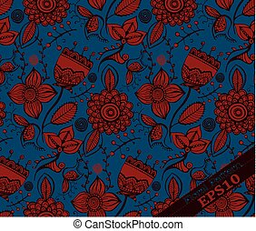Repeating Floral Pattern. Blue and red