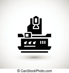 Vertical milling machine icon isolated on grey Vector...