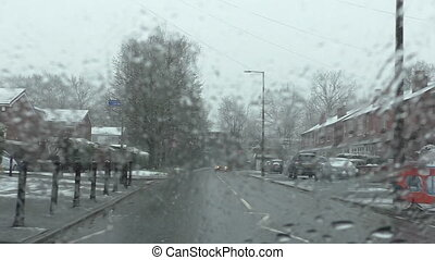 Driving in sleet - Bad weather commuting conditions in...