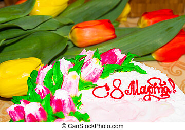 Beautiful cake for March 8 with tulips