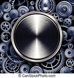 Technology volume button on gears background, vector design