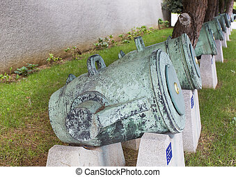 old naval cannon in the park