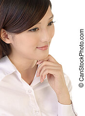 Attractive businesswoman portrait of Asian closeup image on...