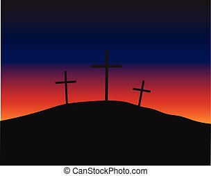 Three crosses standing on Golgotha - Three crosses...