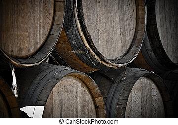 Dark Wine Barrels to store vintage wine - Dark Wine Barrels...