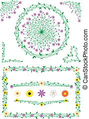 Stalk and flowers decorations - Decorations from flowers and...