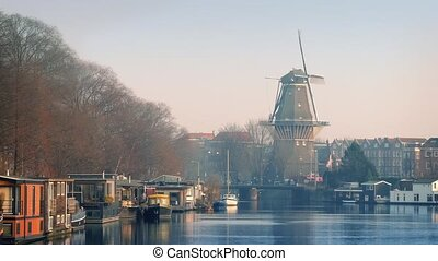 Windmill Overlooking Pretty Canal A - Traditional Dutch...