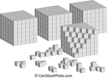 Cube ladder - Constructed ladder of abstract cubes on white...