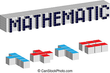 Mathematic cubes - Abstract cubes isolated on the white...