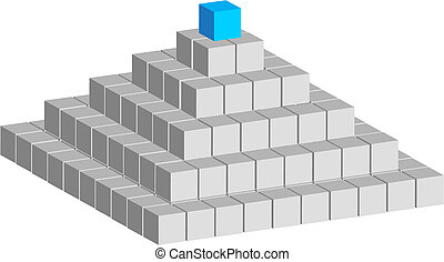 Cube pyramid - Pyramid constructed of abstract cubes on...
