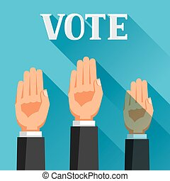 People vote with their hands raised Political elections...