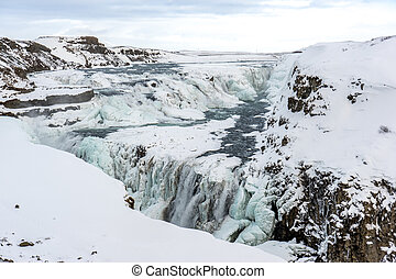 Gullfoss is a waterfall located on the White River Hvítá...