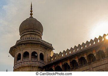 tower minar of a mosque in hyderabad - Minar tower of a...