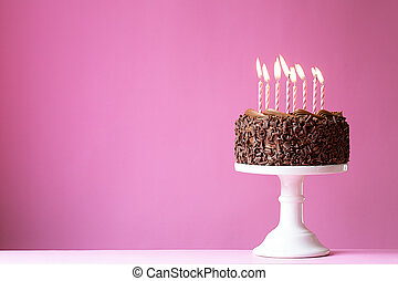Birthday cake with pink candles