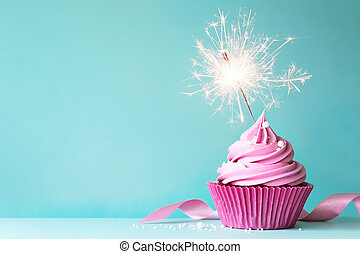 Pink cupcake with sparkler - Birthday cupcake