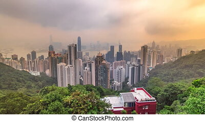 The famous view of Hong Kong from Victoria Peak timelapse...