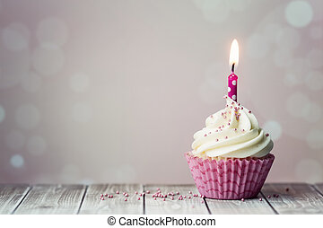 Birthday cupcake - Pink birthday cupcake with candle