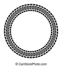 Circle tire track - Black tire track silhouette in circle....