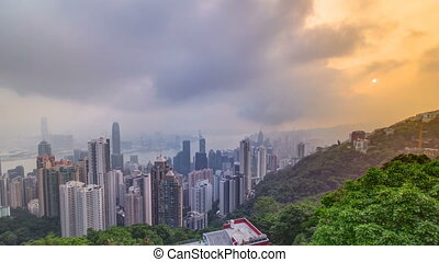 The famous view of Hong Kong from Victoria Peak timelapse. Taken at sunrise while the sun climbs over Kowloon Bay.