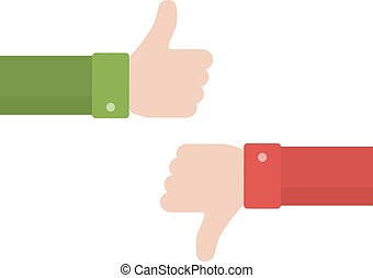 Thumbs up and thumbs down in flat style. Positive and...