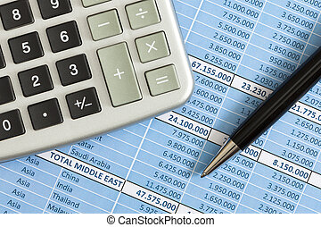 Accounting - Calculator, biro and buisiness reports asd a...