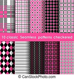 Set of colored checkered seamless table cloth background -...