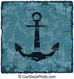 Grunge texture vintage background with anchor.