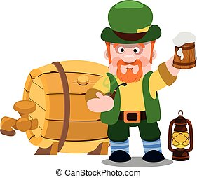 Man in the Irish pub. St. Patrick with a mug of foamy beer. The festive character in cartoon style. Congratulations to the St. Patrick's Day.