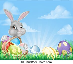 Easter Background - Cartoon easter scene White Easter bunny...