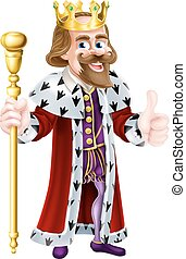 Thumbs Up King Cartoon - Cartoon king mascot holding a...