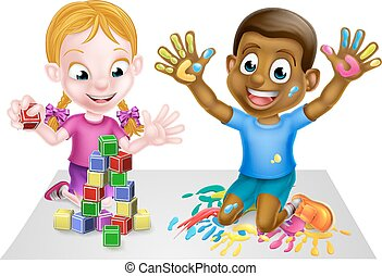Playing Cartoon Boy and Girl