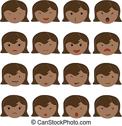 Emoticon icons set of cute girl with various emotions,...