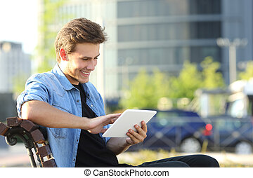Entrepreneur working with a tablet - Entrepreneur man...