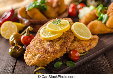 Chicken schnitzel with croquettes - Chicken schnitzel and...