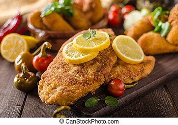 Chicken schnitzel with croquettes - Chicken schnitzel and...