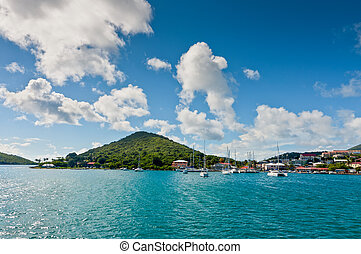 Boats in the bay at the cruise port in Charlotte Amalie, St...