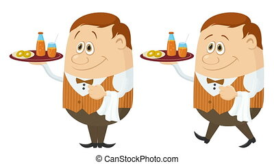 Waiter with Juice and Buns Seamless Loop - Fullhd 1920x1080...