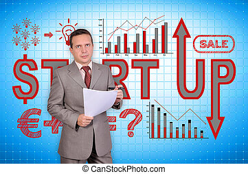 start up - businessman with document and start up concept on...